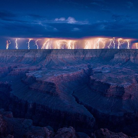 Lightning storms over grand canyon.