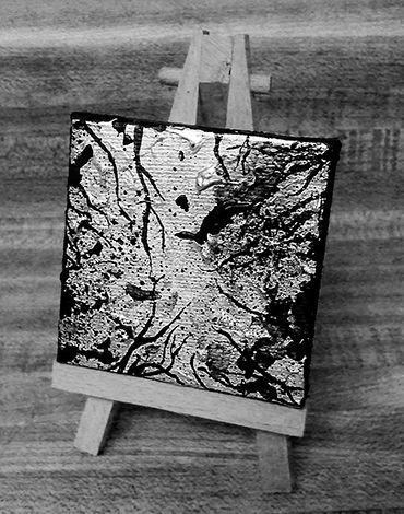 Black and Silver  Acrylic on 2.5 x 2.5 inch canvas