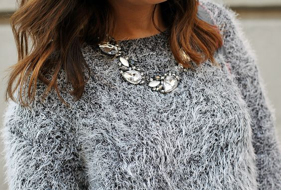 Love the necklace and sweater!