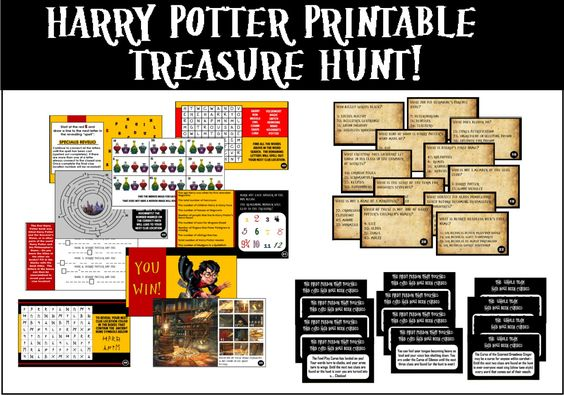 "This Harry Potter Trivia treasure hunt involves trivia questions, clues to solve, and ""curses"" for players to act out when they get the answers wrong. Instant Download!"