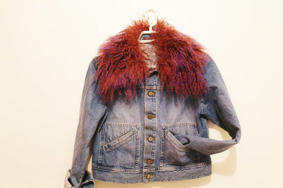 Denim 90's jacket with detachable Collar by FrenchMadeleine, $45.00