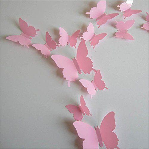 12pcs 3D À faire soi-même Papillons Papillon Art Autocollant Décoration Murale Stickers