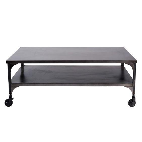 Metalen salontafel op wieltjes met verweerd effect B 110 cm
