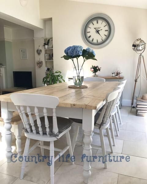 Farmhouse Table And Chairs Any Size Or Colour Handmade In The Uk Country Life Furniture Farmhouse Table Country Kitchen Tables Country Style Dining Room
