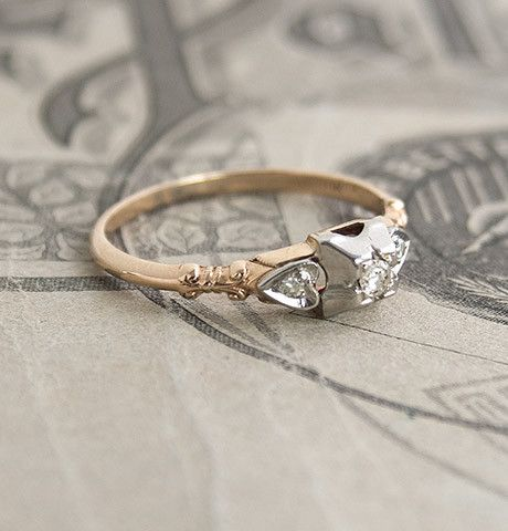 1940s Two-Tone Sweetheart Engagement Ring | Erica Weiner