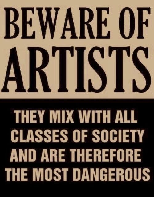 A poster from the mid-50s issued by Senator Joseph McCarthy at the height of the Red Scare & anti-communist witch hunt in Washington. All artists were suspect. Beware of unfounded suspicions & *always* think critically!: