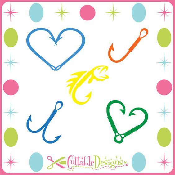 fishing hooks fish frame cut files dfx    svg    eps