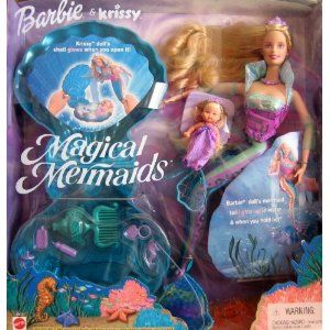 Magical Mermaids BARBIE & KRISSY Dolls Set - Barbie Doll w Light-Up Tail & Krissy Doll w Glowing Shell (2000)