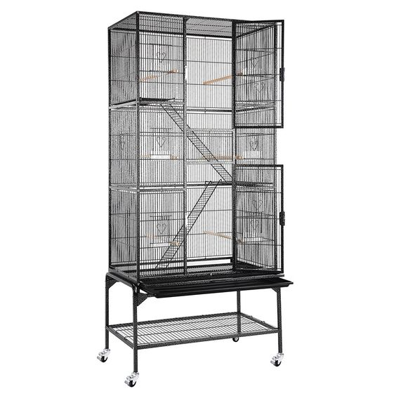"69"" Large Bird Parrot Cage Chinchilla Sugar Glider Cockatiel House w/Metal Wheel"