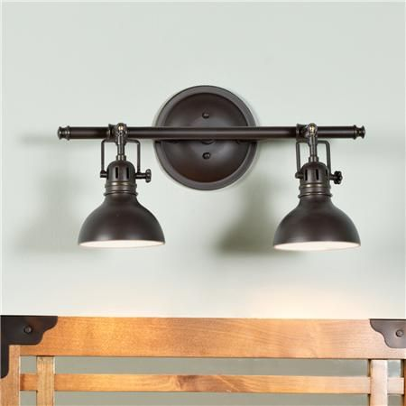 Pullman bath light 2 light industrial bathroom for Master bathroom fixtures