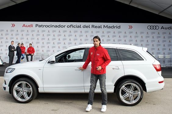 Real Madrid player Sami Khedira receives a new Audi car at the Ciudad Deportiva del Real Madrid on December 1, 2014 in Madrid, Spain