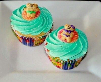 Swimming themed cupcakes
