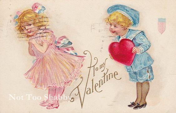 アンティークポストカードバレンタインハートと少年少女絵葉書 ¥200円 〆03月10日