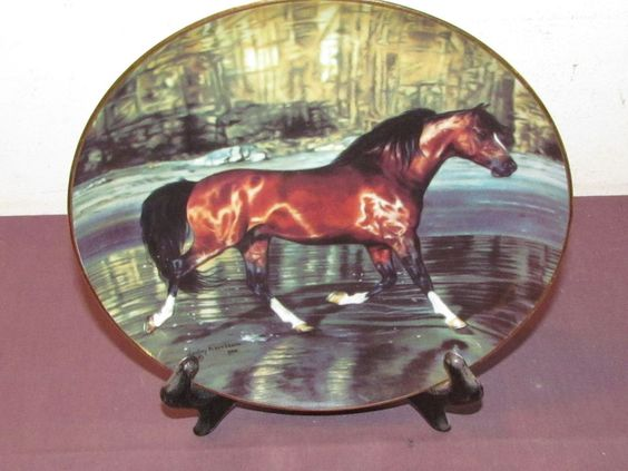NOBLE WANDERER Horse Porcelain Collector Plate Danbury Mint FREE SPIRITS #B3337