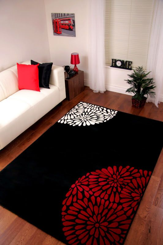 rug, pillows pick up the red in the picture