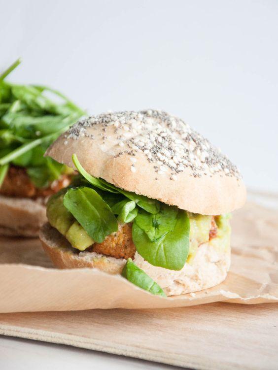Falafel Burger with Avocado Sauce & Homemade Buns! Vegan!