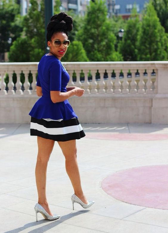 Blue And Black Striped Skirt