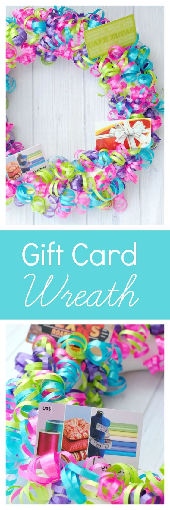 Cute Gift Idea-Make a festive wreath and fill it with gift cards!: