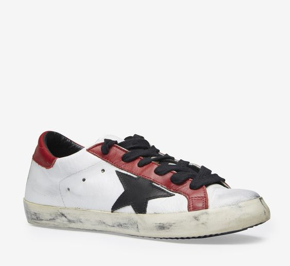 Golden Goose Deluxe Brand White, Red And Black Sneaker