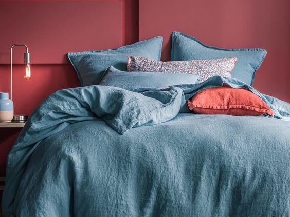 parure de lit en lin lav r ve de lin couleur orage uni. Black Bedroom Furniture Sets. Home Design Ideas
