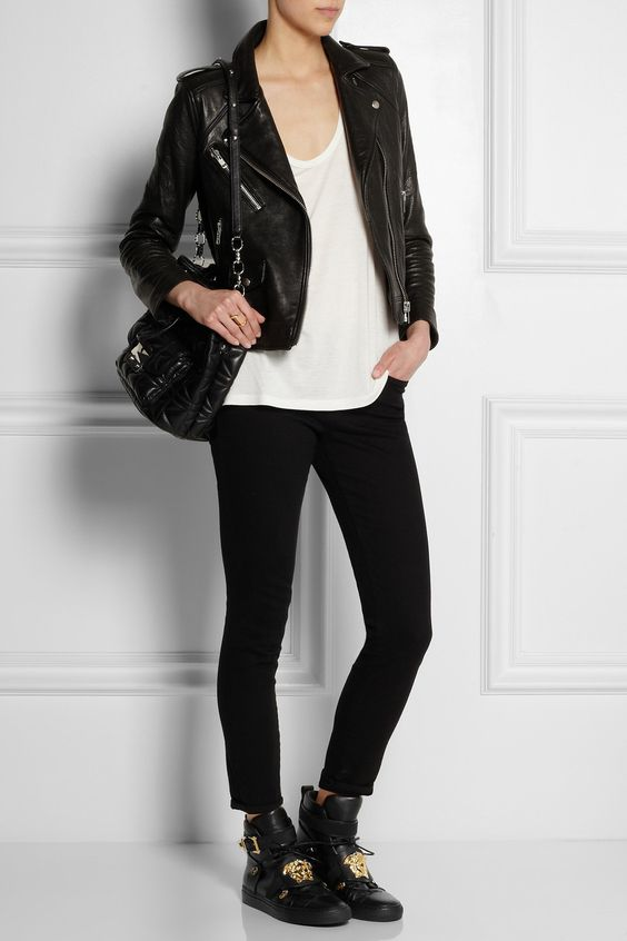 Versace | Embellished leather high-top sneakers | NET-A-PORTER.COM