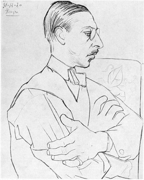 Igor Stravinsky drawn by Pablo Picasso, 1920.    #Picasso #Stravinsky #composer #music #art #drawing #cartoon #history