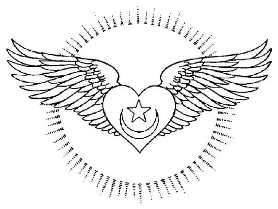 Coloring Page Of Hearts With Wings
