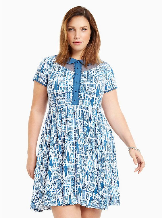 BBC Doctor Who Collection Icons Print Skater Dress, DR WHO ICONS