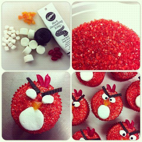 Angry birds cupcakes angry birds and birds on pinterest for Neat craft ideas