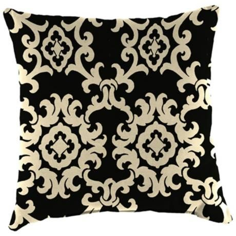 "Black and White 16"" Various Edge Outdoor Accent Pillow -"