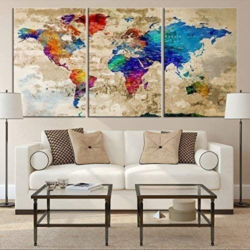 Watercolor World Map Wall Art By My Great Canvas 3 Piece Multi Panel X Large Hanging Canvas Print For Home De World Map Wall Art World Map Decor Map Wall Art
