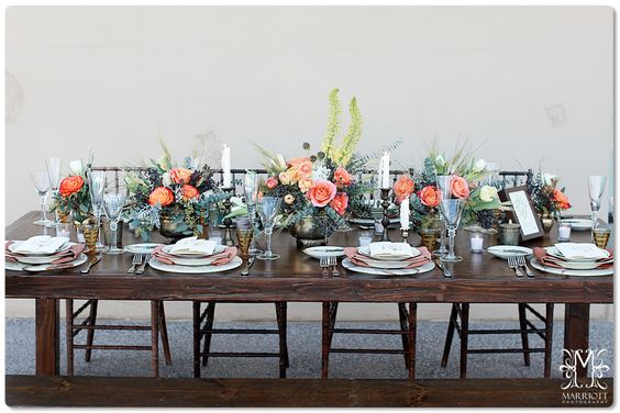 Arizona Desert Stylized Wedding Shoot by NOZZA Studio #reception #brass #woodtable marriottphoto.com