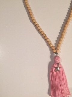 Starfish Baby Pink Tassel and Wooden Bead Necklace by MacAndRoma on Etsy