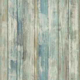 Roommates 28 2 Sq Ft Blue Vinyl Wood Self Adhesive Peel And Stick Wallpaper Lowes Com How To Distress Wood Wood Wallpaper Wood Plank Texture