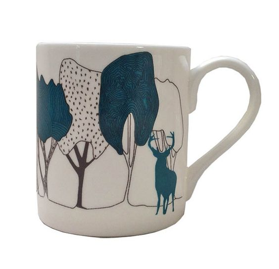 Teal Stag in The Woods bone china cup a nature by OrwellandGoode, £12.00