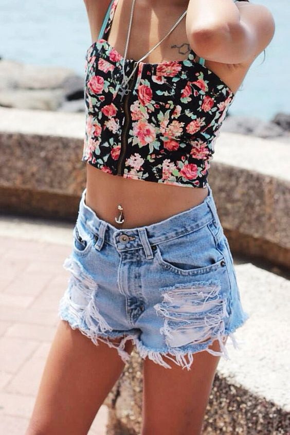 Extra Distressed High Waisted Shorts