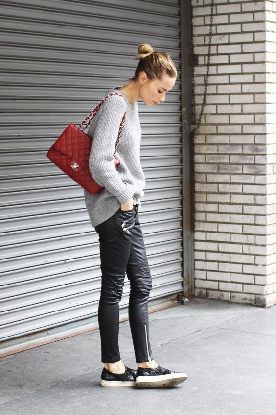 knit & leather. #AnineBing in LA.