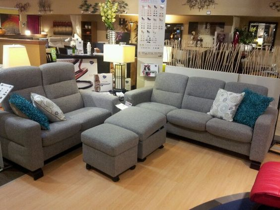 Stressless Wave In Grey Fabric Highback Loveseat And