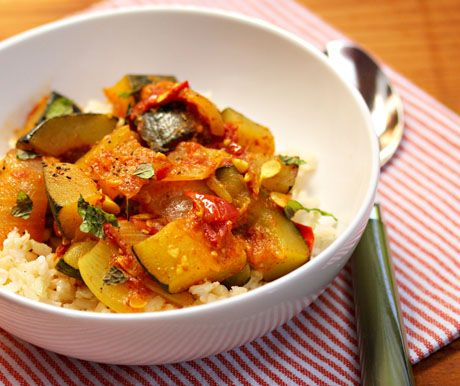 Love the spices in this recipe! Spicy vegan zucchini and tomato stew with garlic and mint, from The Perfect Pantry.