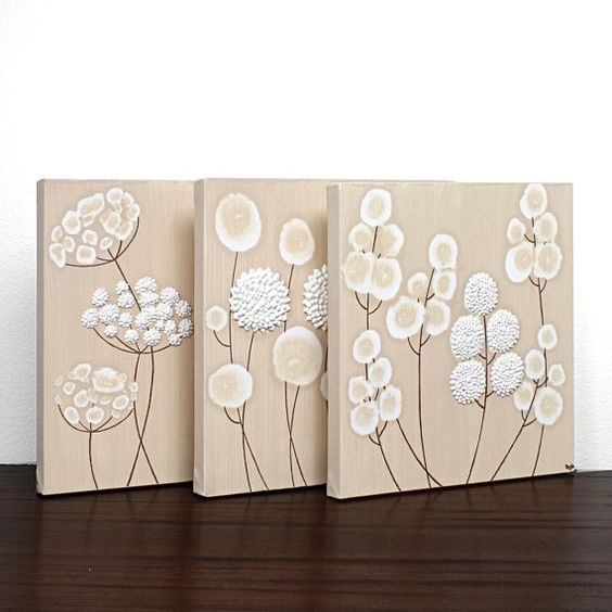Neutral Canvas Art - Textured Flower Paintings in Khaki and White - Set of Three Wall Art 32X10