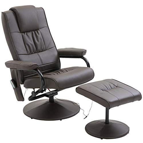 Homcom Fauteuil De Massage Et Relaxation Electrique Chauffant Pivotant Inclinable Avec Repose Pied Chocolat En 2020 Fauteuil De Massage Fauteuil Pivotant Fauteuil