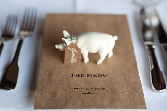 menu with a little piggy placecard