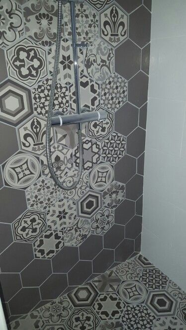 Wet room hexagonal mosaic tiles feature wall and floor for Wet room mosaic floor tiles