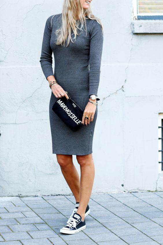 {Knit dress with sneakers.}