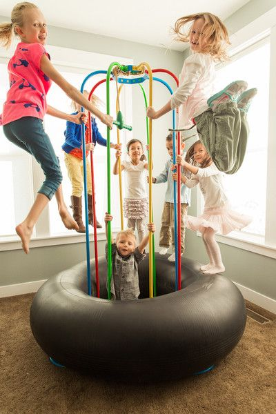 Keep's the kids active and doesn't take up as much room as a trampoline! Award Winning Jungle Jumparoo as seen on ABC's Shark Tank! For indoor or outdoor use.