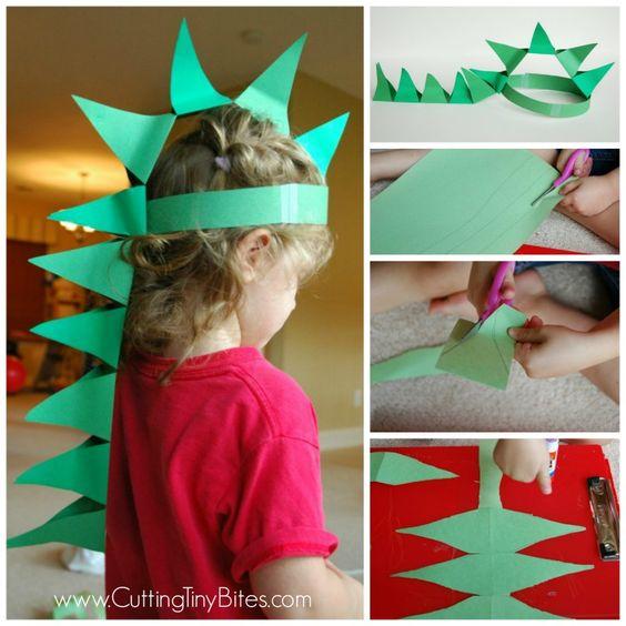 DIY Paper Dinosaur Hat. Craft for preschool or older kids.
