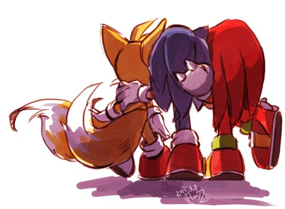 Tails: Where are we going, Sonic? Sonic: I don't know yet. Knuckles: Should I leave now?
