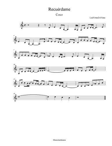Partitura De La Cancion Recuerdame Con Imagenes Partituras