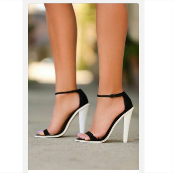 Shoes | White high heels, Black and white and Black