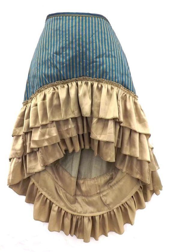 Steampunk Victorian Renaissance Pirate Costume Blue Bronze Striped Ruffle Skirt   Renaissance ...